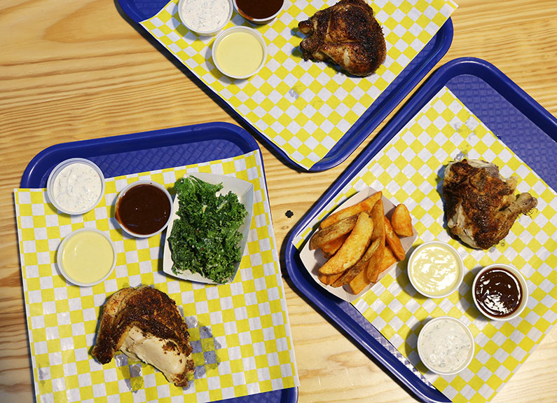 a selection of dishes from chicken scratch in city foundry stl in St. Louis Missouri