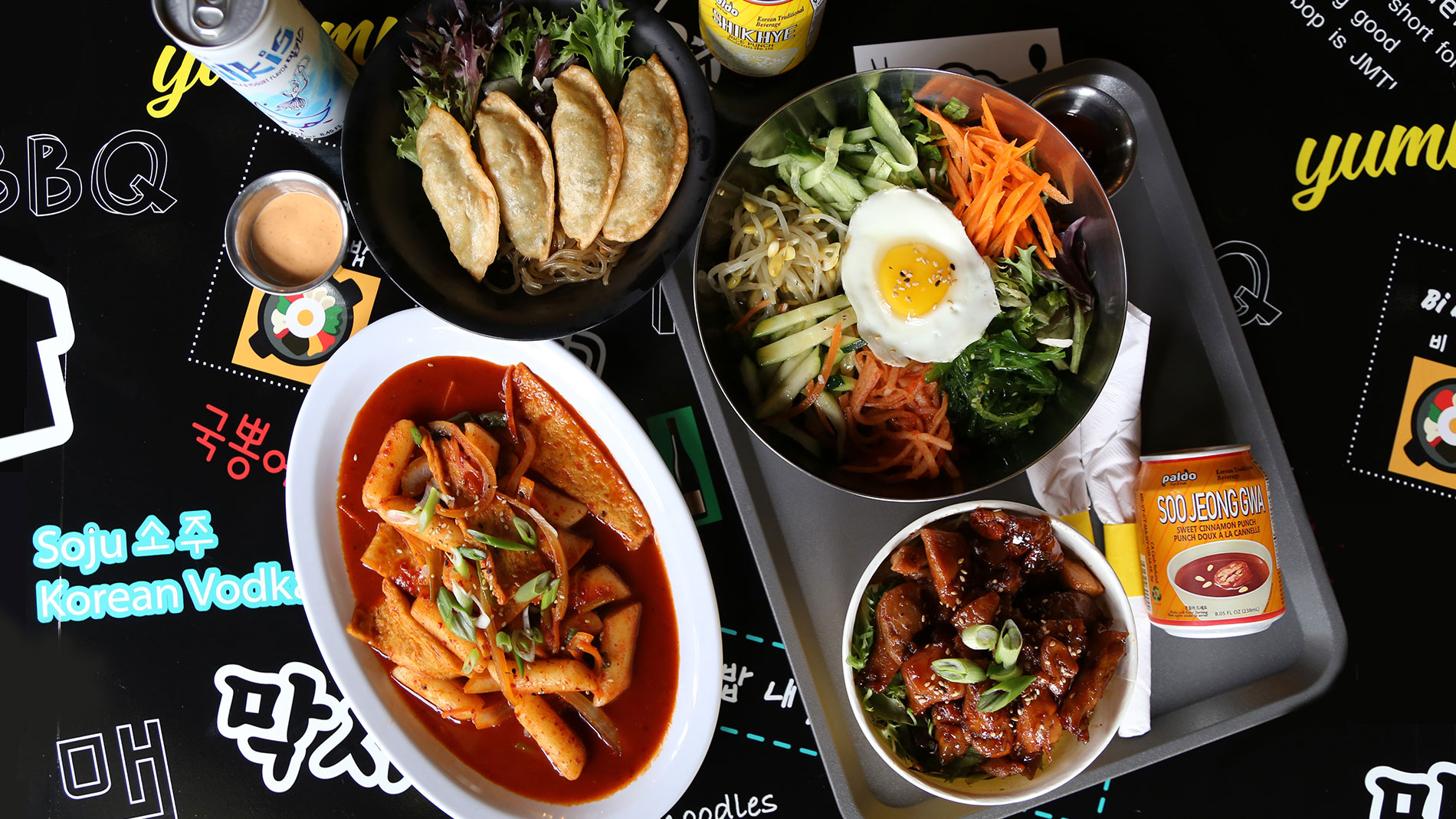 a selection of dishes from k-bop