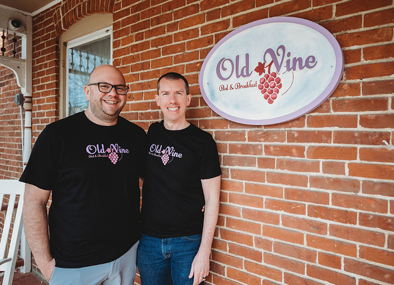 old vine bed & breakfast owners chad and mike walton