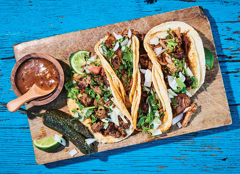 pastor and asada tacos at mi tierra bonita