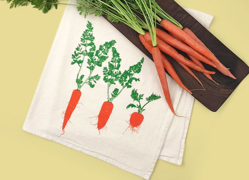 silk-screened kitchen towels by sprouted designs