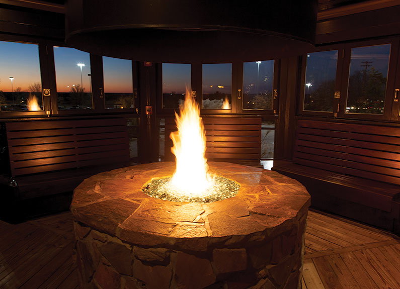 The circular fire room at EdgeWild Restaurant & Winery in Chesterfield