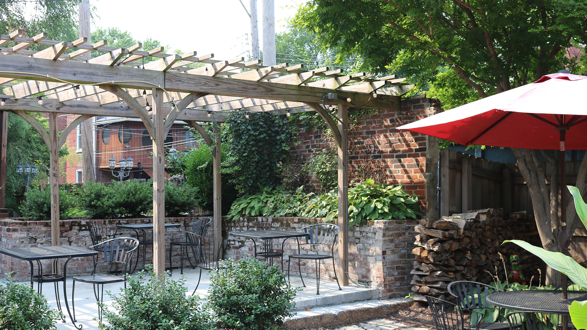 the back patio at 33 wine bar in lafayette square
