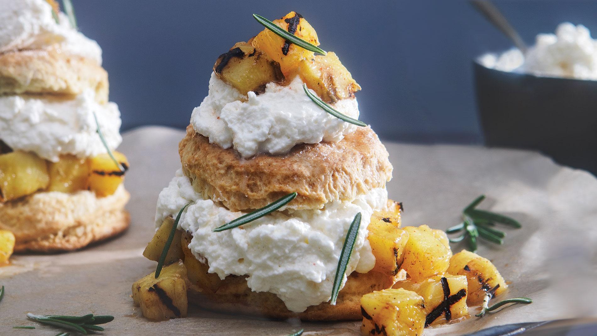 Grilled pineapple rum shortcakes recipe