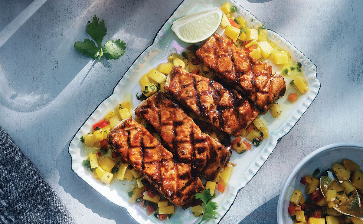 Grilled Salmon with Guava Barbecue Sauce and Mango Salsa recipe