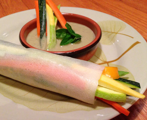 Veggie Coconut Wraps with Spicy Peach Dipping Sauce