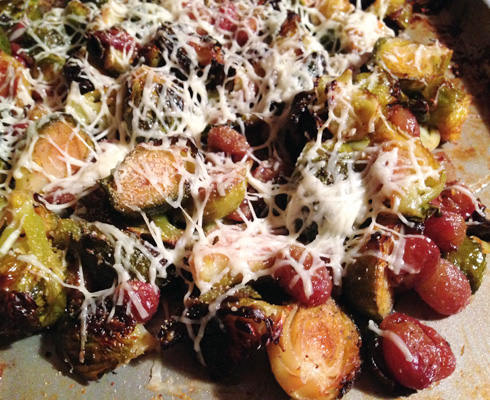 Roasted Sweet Brussels Sprouts and Grapes