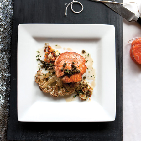 Salmon with Cauliflower Steak and Brown Butter Sauce