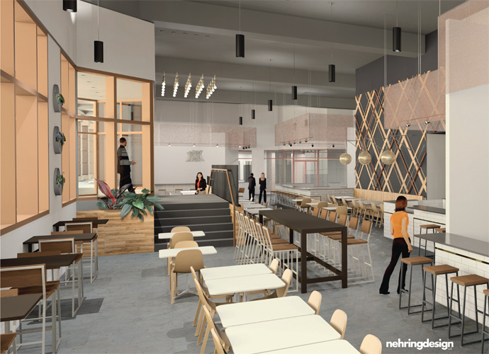 a plan of what the interior of the eatery downtown will look like