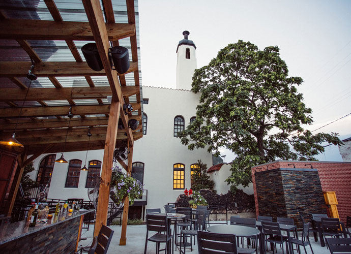 the exterior patio of the bronson house on washington ave.