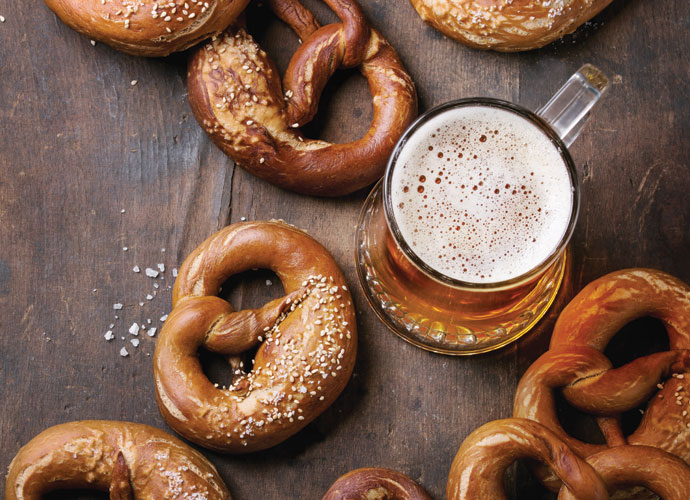 pretzels and beer are the perfect pair for oktoberfest weekend