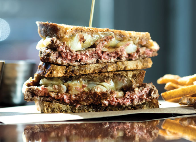 impossible burger patty melt at polite society