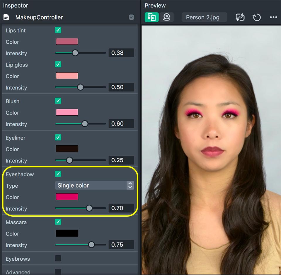 Eyeshadows type 1 setup