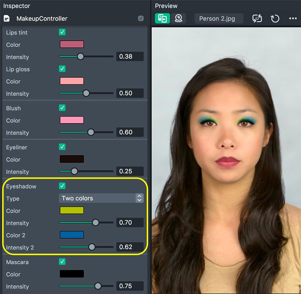 Eyeshadows type 2 setup
