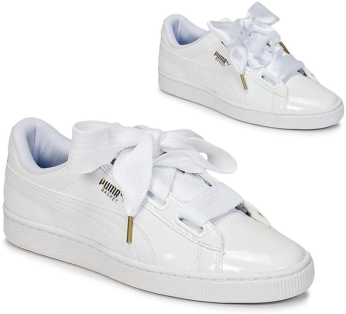 puma basket womens white white trainers womens