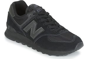 new balance 574 mens black black trainers mens