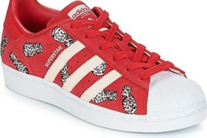 adidas superstar womens red red trainers womens
