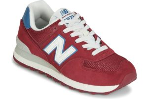 new balance 574 mens red red trainers mens