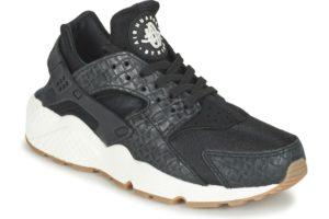 nike-huarache run premium s (trainers) in-womens-black-683818-011-black-trainers-womens