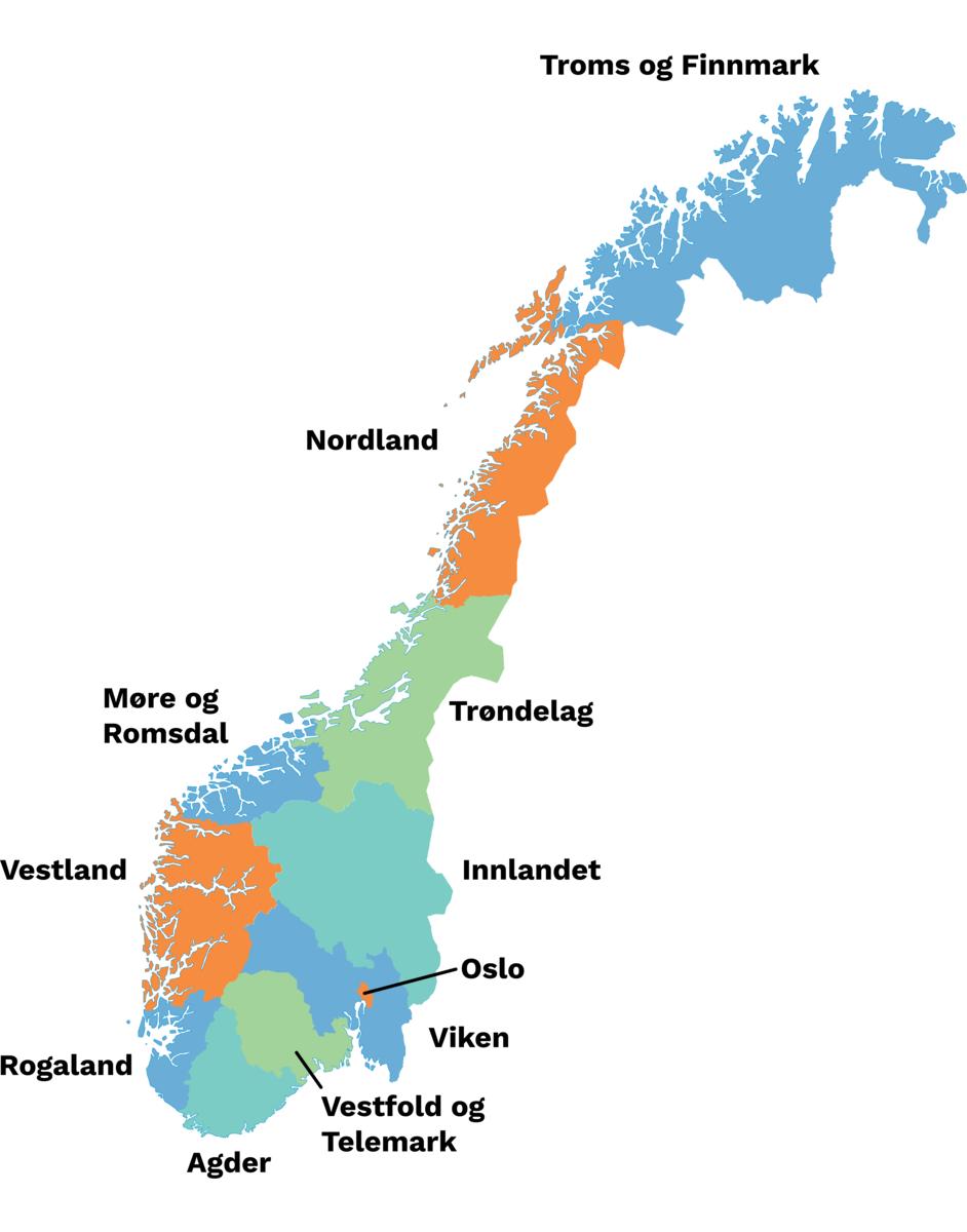 Fylker per 2020 Av Erik Bolstad/Store norske leksikon. Lisens: CC BY NC SA 3.0