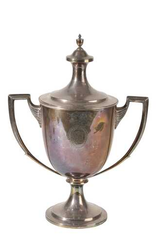 LARGE GEORGE V SILVER TWIN HANDLED TROPHY CUP AND COVER, LIONEL ALFRED…