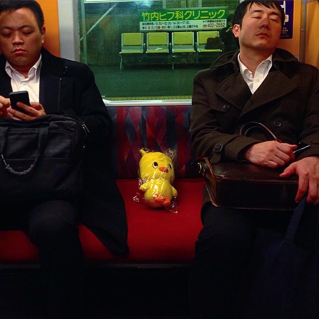 #hiyokochan found a seat in the #metro #tokyo #japan #lol