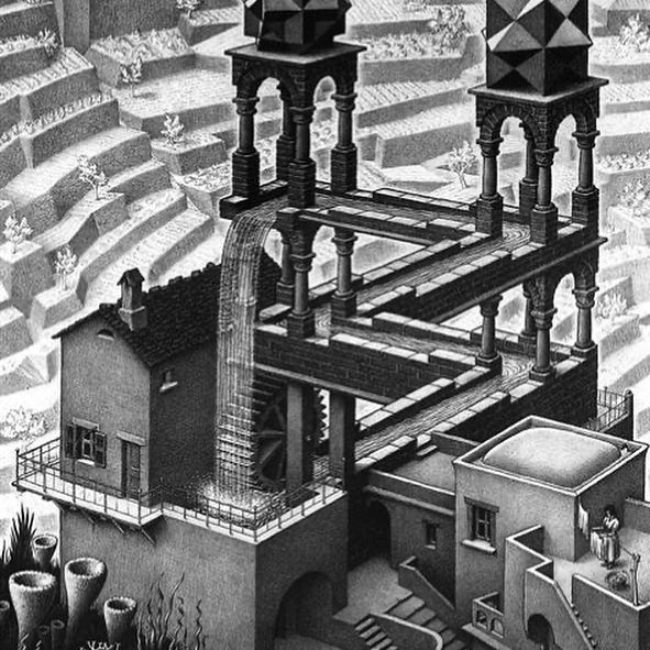 M. C. Escher's Waterfall, published 1961