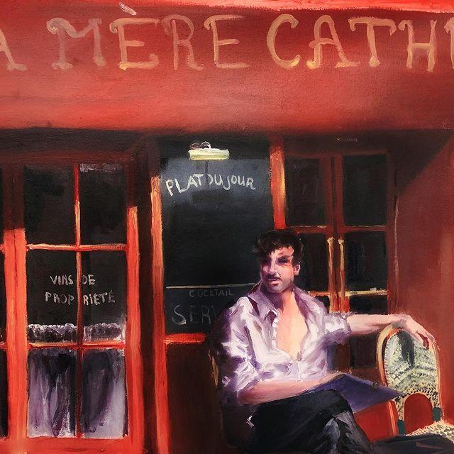 """Street portrait artist"" , oil on canvas.  The street portraitist I"