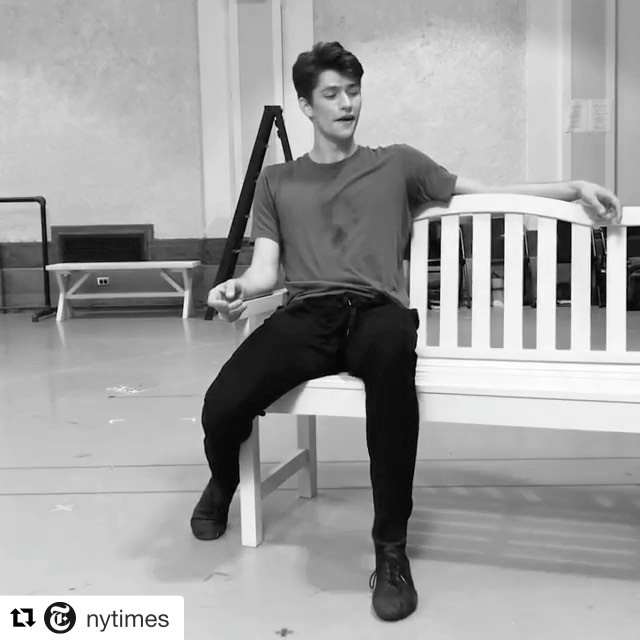 """Happy #internationaldanceday ! 💪🏼🕺🏻 • Throw back to 2017, rehearsing @joshuabergasse's choreography for a @nytimes feature about @nycitycenter Encore's presentation of """"The Golden Apple."""" This was a FUN one, although they made me run this solo about 6 times while filming and I could barely walk the next day. Gotta risk it, for the biscuit 🥐!!"""