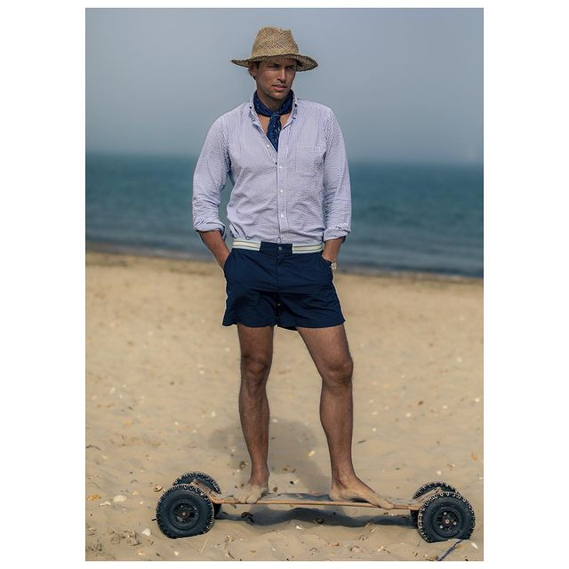 Before and after pint of cold local cider! 😁🤙 Seersucker shirt and neckerchief @etonshirts  Swim shorts @che.studios  . . . . . . . . . . . . . #beach #seersucker #summer #eton #che #style #travel #travelstyle #travelinstyle #classic #man #mensstyle #mensfashion #outfitinspiration #england #menwithstyle #stylishmen #retro #oldschool #fashion #shirt #etonshirts #model #robertas #selectmen