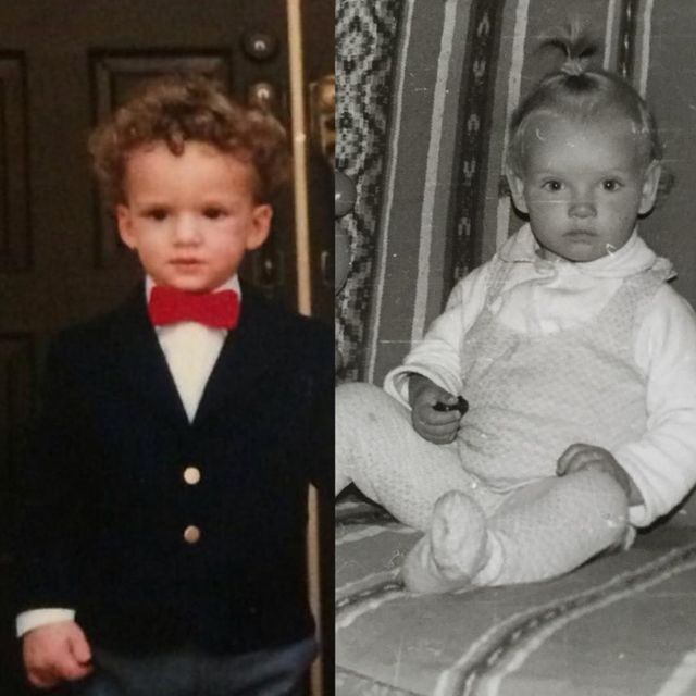 This is Bryant and me in one of our baby photos.   While we are patiently waiting for our little one to arrive, I had to make this side-by-side photo of us. So curious who our baby will look like more. What's your prediction? Bryant's curly hair or my blonde or mix 💭