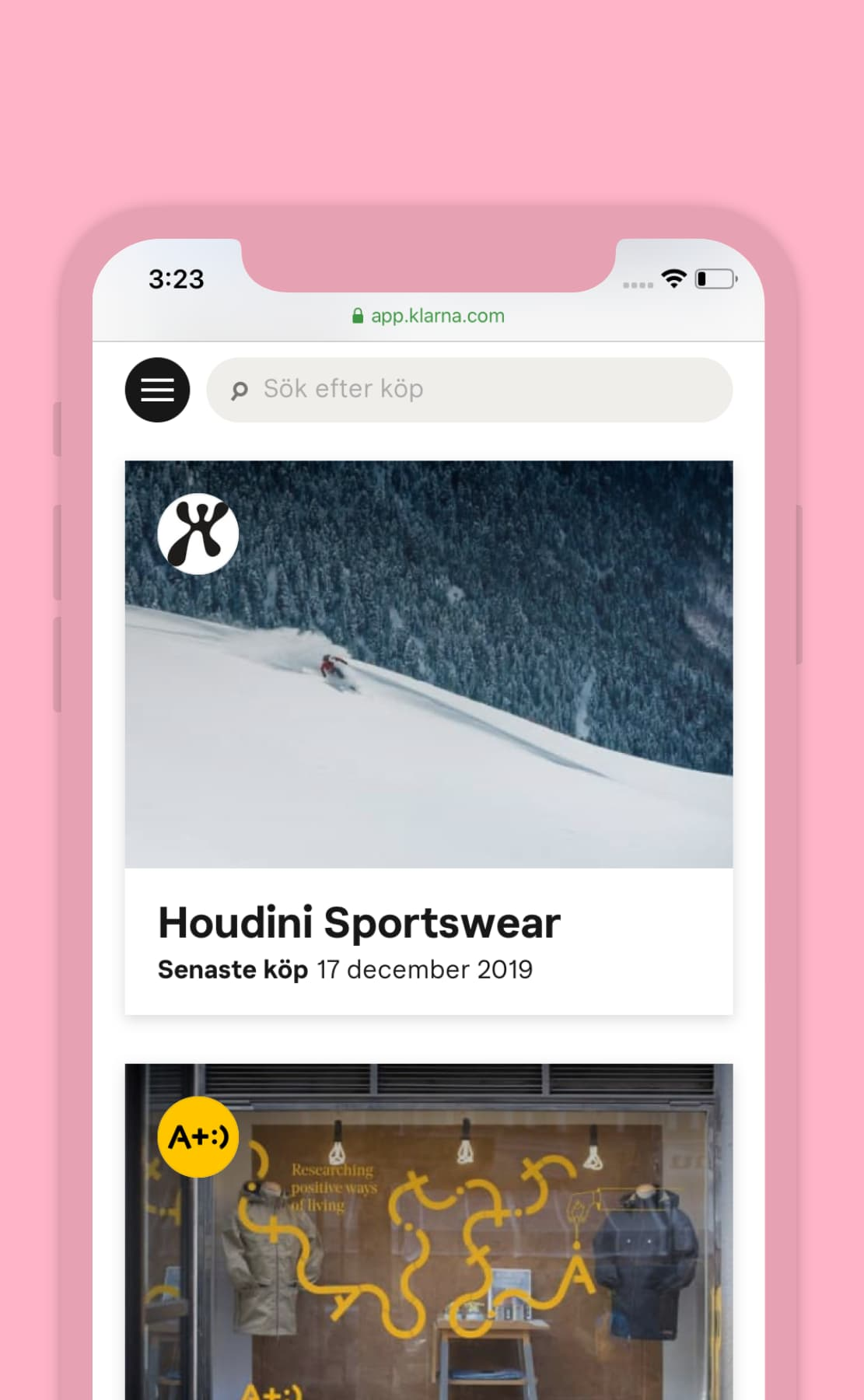 Skärmdump som visar delar av Klarnas applikation på mobil. Klarnas kunder har fått logotyp och fina foton som bakgrund.