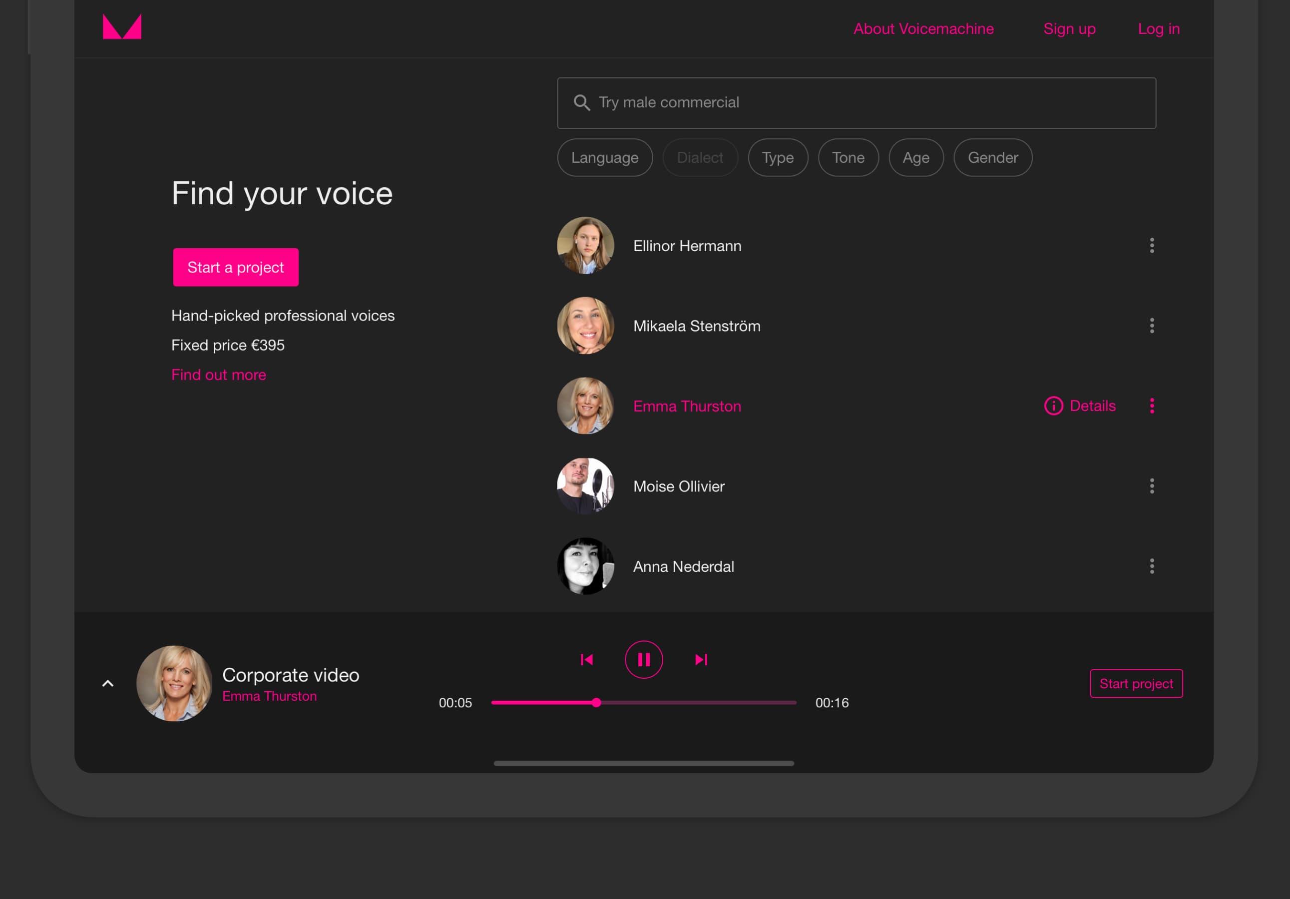 Skärmdump som visar hur Voicemachine ser ut på en padda. Ett röstdemo för Emma Thurston spelas. Voicemachine ger möjlighet att starta ett projekt med den röst man gillar.