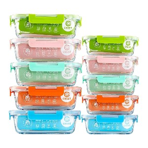 C Crest [10-Pack] Glass Food Storage Containers  - Best Storage Containers for Kitchen: For your meal prep