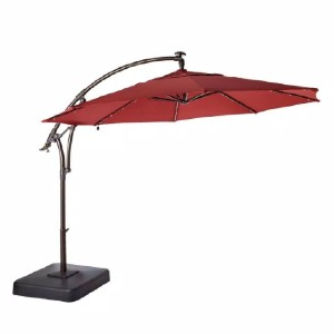 Hampton Bay 11 ft. LED Round Offset Outdoor Patio Umbrella - Best Patio Umbrellas with Lights: Best for nighttime entertaining