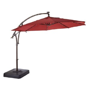 Hampton Bay 11 ft. LED Round Offset Outdoor Patio Umbrella - Best Patio Umbrellas for Wind: Best for nighttime entertaining