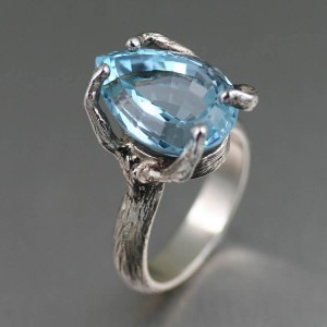 John S. Brana Pear Cut Blue Topaz Sterling Silver Cocktail Ring - Best Jewelry for 25th Wedding Anniversary: Leaves your wife breathless