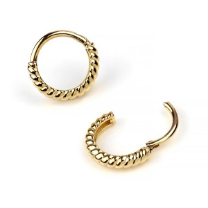 Bodyartforms 14K Gold Twisted Rope Clicker  - Best Jewelry for New Nose Piercing: For a touch of class