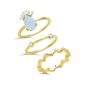 Sterling Forever Blue Opal Stacking Ring - Best Jewelry for College Graduation:  Three in one