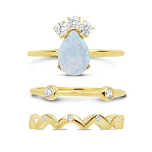 Sterling Forever 14K Gold Vermeil Blue Opal Stacking Ring - Best Jewelry for Black Dress: Three in one
