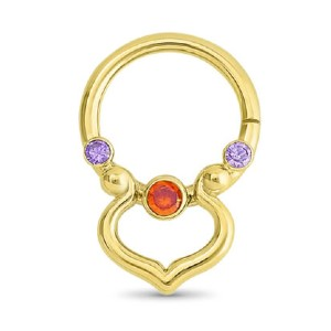 Diamond Nose Rings 14K Yellow Gold Septum Nose Ring - Best Jewelry for New Nose Piercing: Best luxurious pick