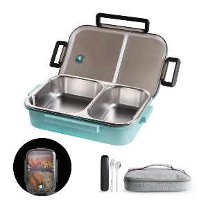 LANSKYWARE 2 Compartments Bento Lunch Box - Best Lunch Box to Keep Food Hot: Perfect For Food on the Go