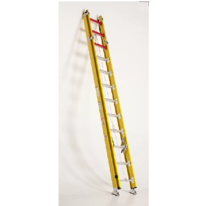 Bauer Corporation 20 ft Fiberglass Extension Ladder - Best Extension Ladders for Home Use: Heavy Duty Two-Way Shoes with Steel Spikes