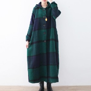 Soolinen Plaid long coats hooded - Best Coats for Cold Weather: Makes You Look Slimmer and Matches Easily