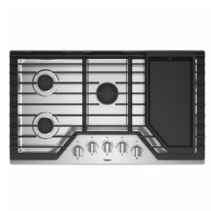 Whirlpool 36 in. Gas Cooktop in Stainless Steel  - Best 5 Burner Gas Cooktops: Excellent removable griddle