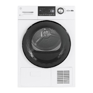 GE 4.1 cu. ft. 240-Volt White Electric Ventless Dryer - Best Compact Dryers: Bright LED interior light