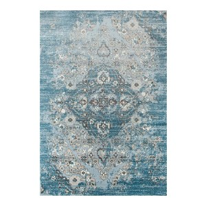 Persian Area Rugs 4620 Distressed Blue 3'11x5'3 Area Rug - Best Rug to Have with Dogs: Durable and easy to clean
