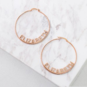 Yafeini Custom Name Hoops - Best Jewelry for Black Dress: For more personal touch