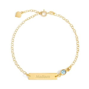 Yafeini Personalized Birthstone Engraved Anklet - Best Jewelry for College Graduation: Add a sweet message