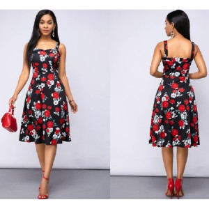Rosewe A Line Floral Print Spaghetti Strap Dress - Best Dress for Hourglass Shape: Machine Washable Wash